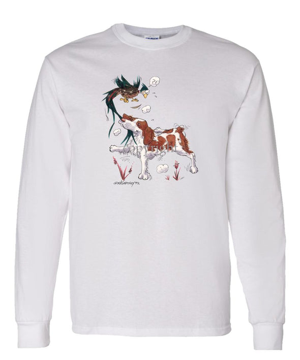 Brittany - Grabbing Pheasants Tail - Caricature - Long Sleeve T-Shirt