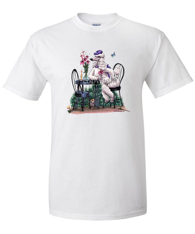 Poodle  White - Sitting At Table - Caricature - T-Shirt