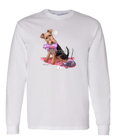 Welsh Terrier - Stuffed Mouse - Caricature - Long Sleeve T-Shirt