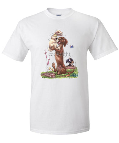 Dachshund  Smooth - Rabbit Kissing Nose - Caricature - T-Shirt