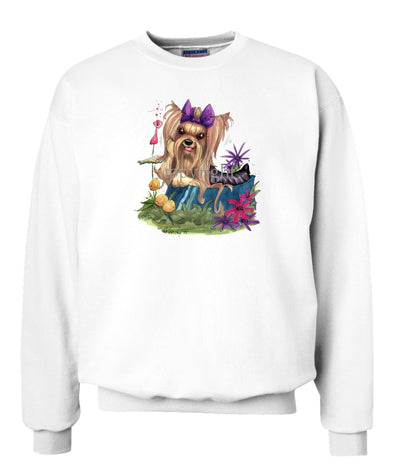Yorkshire Terrier - In Dish Purple Ribbon - Caricature - Sweatshirt