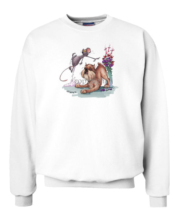 Brussels Griffon - Mouse And Flowers - Caricature - Sweatshirt