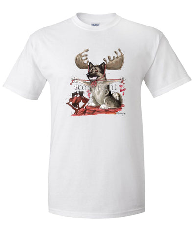Norwegian Elkhound - With Antlers - Caricature - T-Shirt
