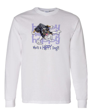 Australian Shepherd  Black Tri - Who's A Happy Dog - Long Sleeve T-Shirt