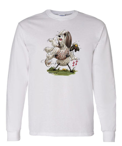 Bearded Collie - Sheep Holding Up Beardie - Caricature - Long Sleeve T-Shirt