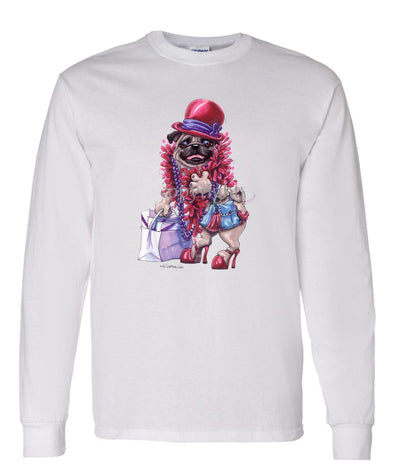 Pug - Red Hat - Caricature - Long Sleeve T-Shirt