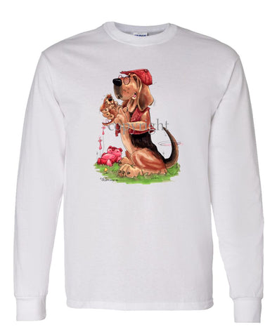 Bloodhound - With-puppy - Caricature - Long Sleeve T-Shirt