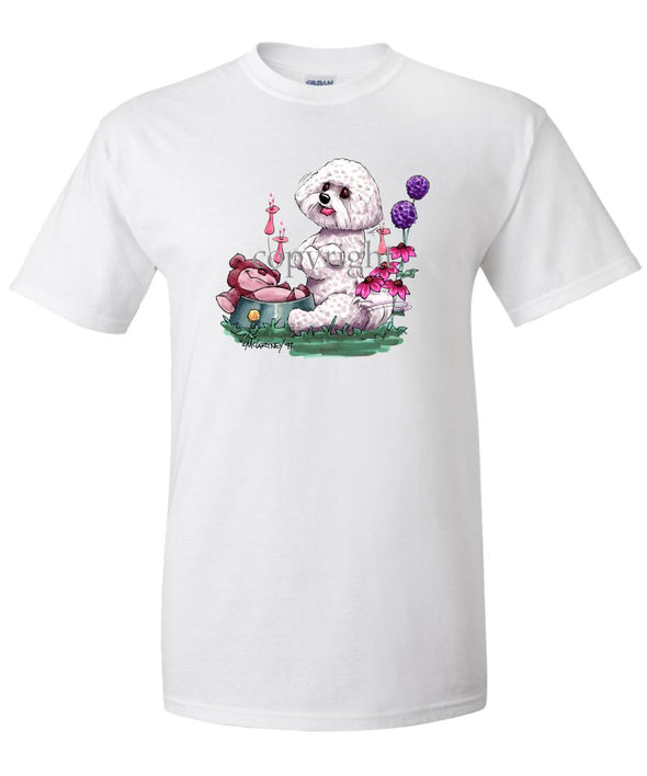 Bichon Frise - Toy Bear In Dish - Caricature - T-Shirt