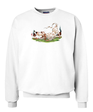 English Setter - Playing With Pheasants - Caricature - Sweatshirt