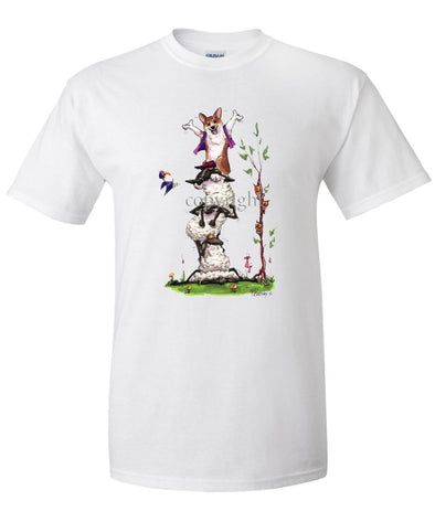 Welsh Corgi Pembroke - Stacked Sheep - Caricature - T-Shirt