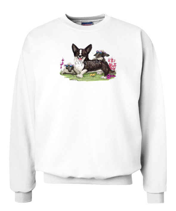 Welsh Corgi Cardigan - Sheep With Shades - Caricature - Sweatshirt
