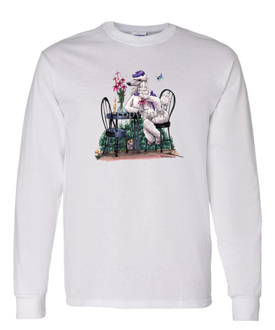 Poodle  White - Sitting At Table - Caricature - Long Sleeve T-Shirt