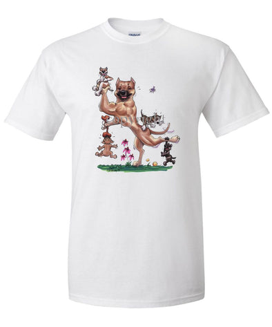 American Staffordshire Terrier - With Puppies - Caricature - T-Shirt