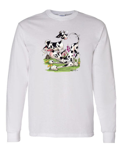 Great Dane  Harlequin - With Cow - Caricature - Long Sleeve T-Shirt