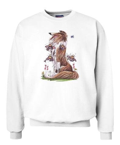 Collie - Sitting With Sheep In Fur - Caricature - Sweatshirt