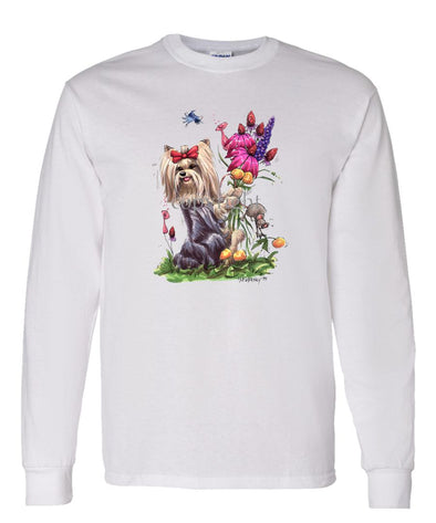 Yorkshire Terrier - Holding Flowers - Caricature - Long Sleeve T-Shirt