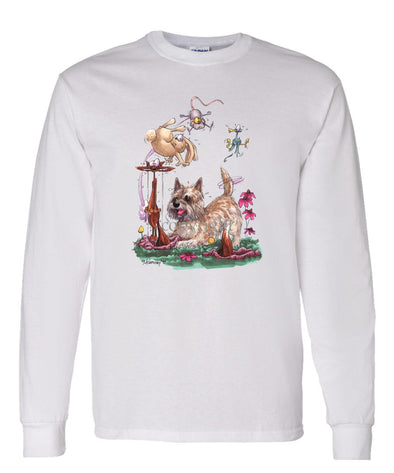 Cairn Terrier - Chasing Fox And Rabbit - Caricature - Long Sleeve T-Shirt
