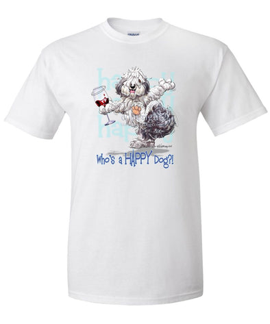 Old English Sheepdog - Who's A Happy Dog - T-Shirt