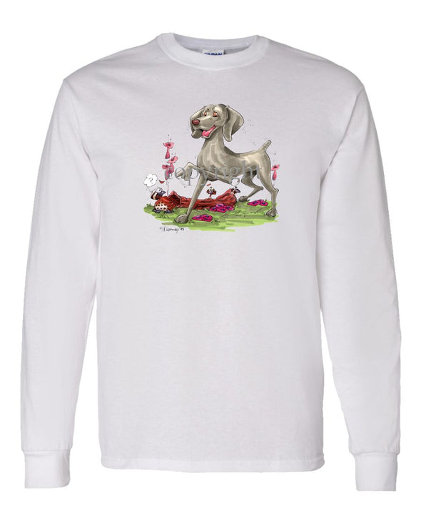 Weimaraner - Pointing - Caricature - Long Sleeve T-Shirt