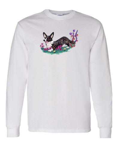 Welsh Corgi Cardigan - Flowers - Caricature - Long Sleeve T-Shirt