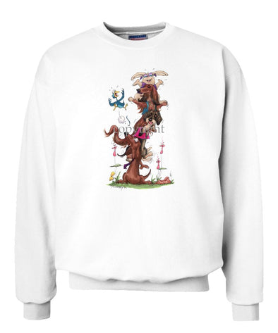 Dachshund - Group Stacked On Shoulders - Caricature - Sweatshirt