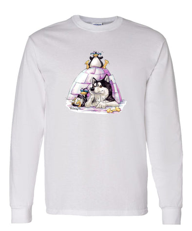 Siberian Husky - Igloo - Caricature - Long Sleeve T-Shirt
