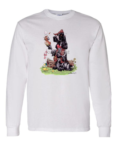 English Cocker Spaniel - Holding Quail - Caricature - Long Sleeve T-Shirt