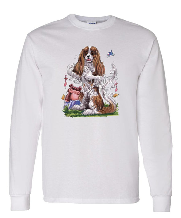 Cavalier King Charles - Sitting Teddy Bear - Caricature - Long Sleeve T-Shirt