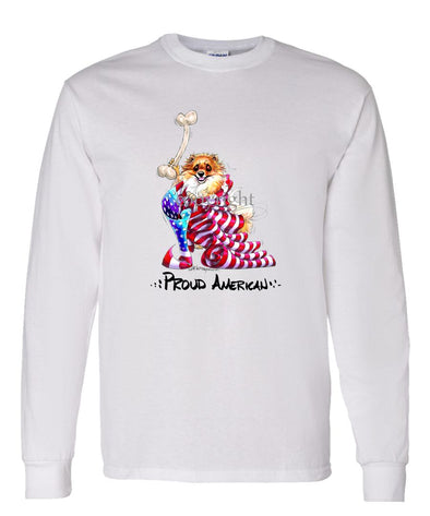 Pomeranian - Proud American - Long Sleeve T-Shirt