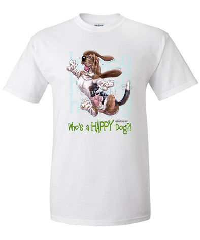 Basset Hound - Who's A Happy Dog - T-Shirt