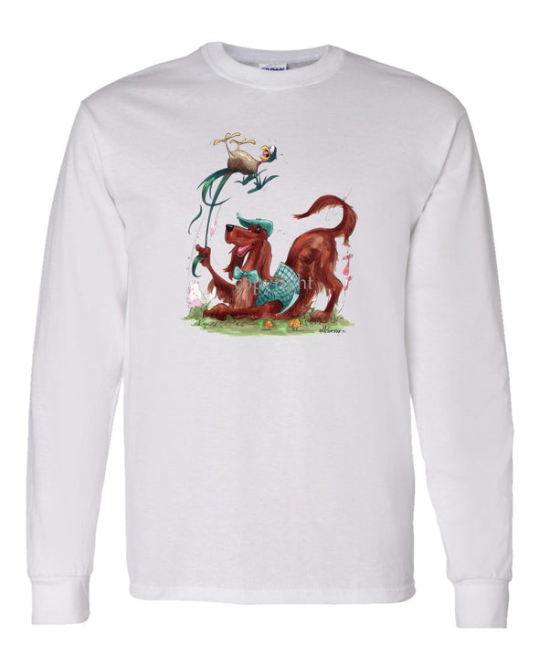 Irish Setter - Pulling Birds Tail - Caricature - Long Sleeve T-Shirt