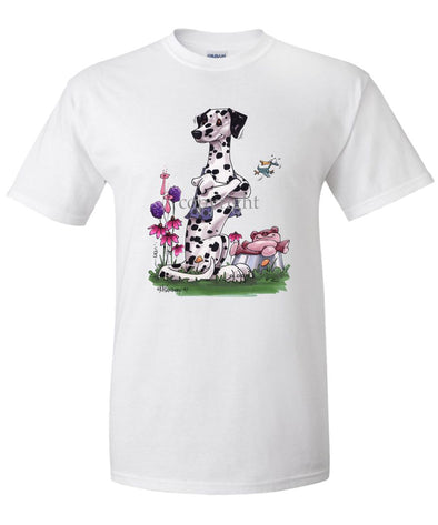 Dalmatian - Sitting With Stuffed Bear - Caricature - T-Shirt
