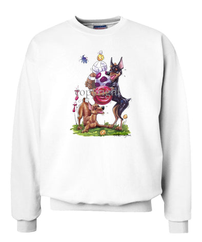 Miniature Pinscher - Group With Toys - Caricature - Sweatshirt
