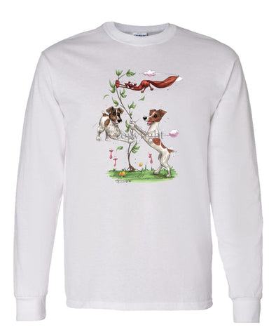 Jack Russell Terrier - Group Spinning Fox In Tree - Caricature - Long Sleeve T-Shirt