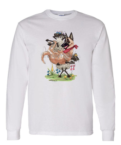 Belgian Malinois - Sheep Holding Malinois - Caricature - Long Sleeve T-Shirt