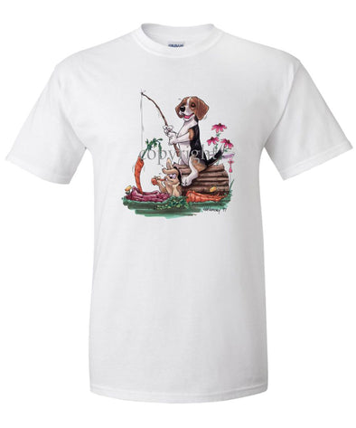 Beagle - Fishing With Carrot - Caricature - T-Shirt