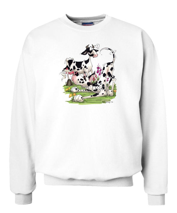 Great Dane  Harlequin - With Cow - Caricature - Sweatshirt