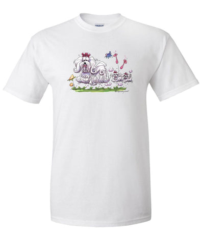 Maltese - With Puppies - Caricature - T-Shirt