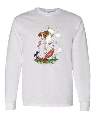 Jack Russell Terrier - Diving After Fox - Caricature - Long Sleeve T-Shirt