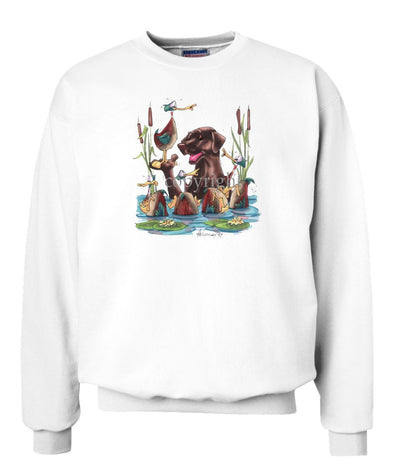 Labrador Retriever  Chocolate - Wading With Ducks - Caricature - Sweatshirt