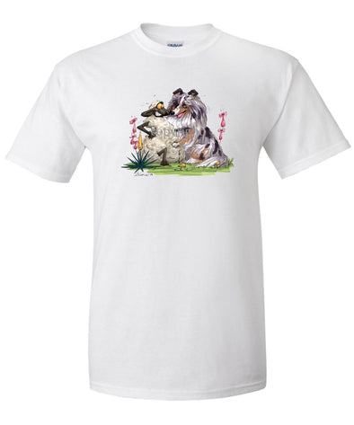 Shetland Sheepdog  Blue Merle - Hugging Sheep - Caricature - T-Shirt
