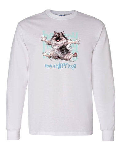 Keeshond - Who's A Happy Dog - Long Sleeve T-Shirt