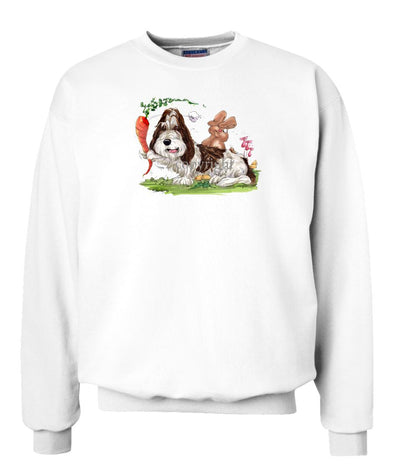 Petit Basset Griffon Vendeen - With Carrot Teasing Rabbit - Caricature - Sweatshirt
