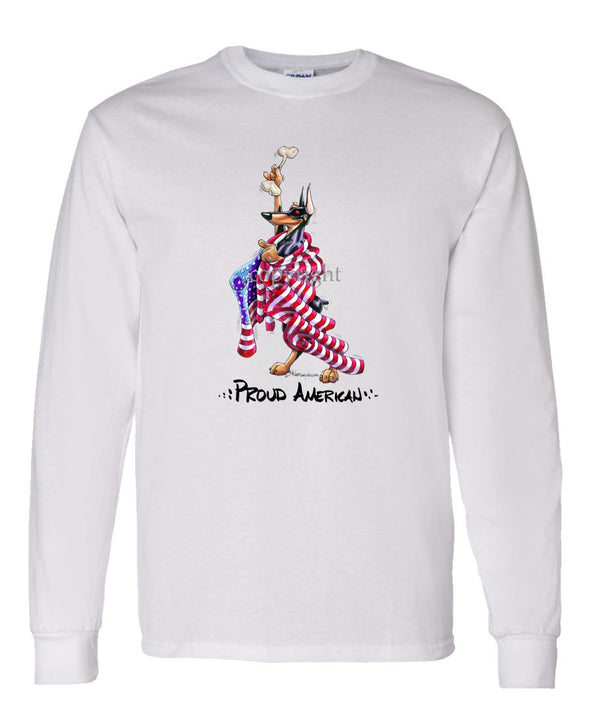 Doberman Pinscher - Proud American - Long Sleeve T-Shirt