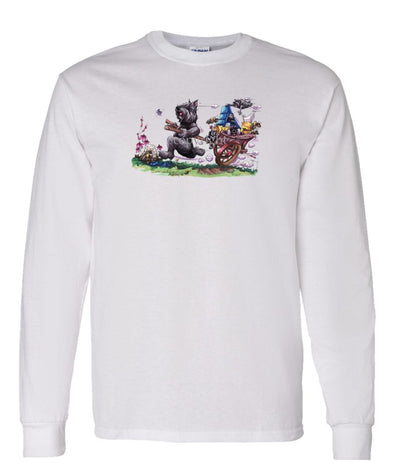 Bouvier Des Flandres - Pulling Cart With Puppies - Caricature - Long Sleeve T-Shirt