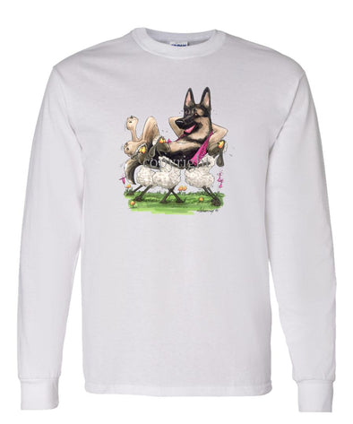 German Shepherd - Carried By Sheep - Caricature - Long Sleeve T-Shirt