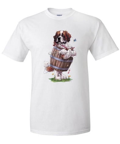 Saint Bernard - Standing In Barrel - Caricature - T-Shirt