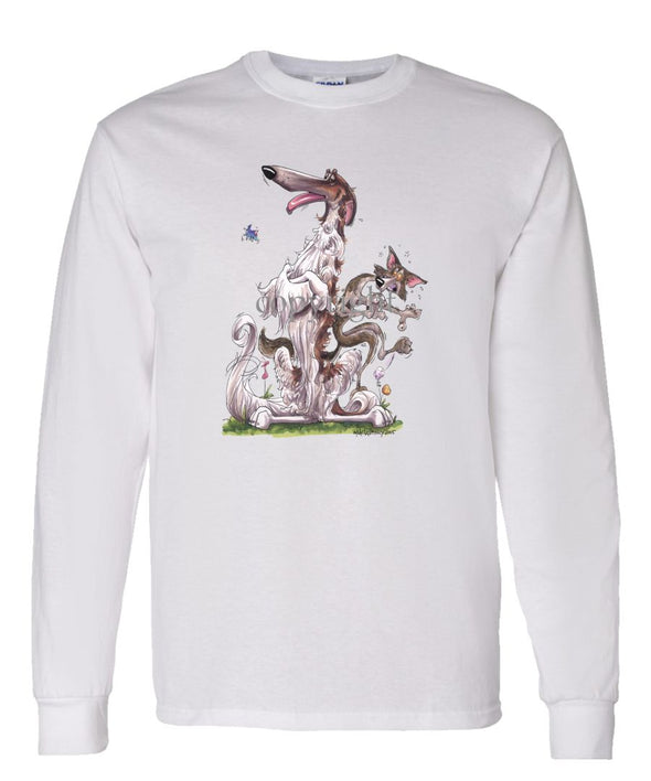 Borzoi - Sitting With Wolf - Caricature - Long Sleeve T-Shirt