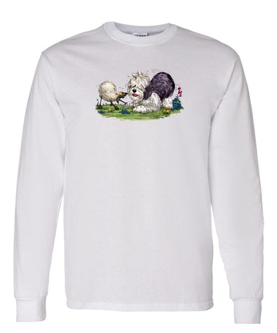 Old English Sheepdog - With Sheep - Caricature - Long Sleeve T-Shirt