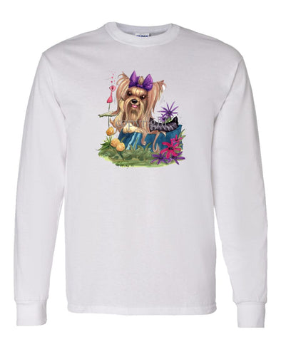 Yorkshire Terrier - In Dish Purple Ribbon - Caricature - Long Sleeve T-Shirt